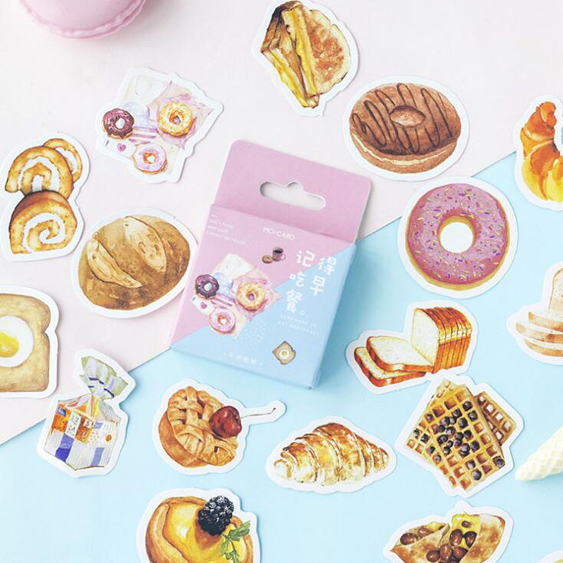 46pc/carton. Mini Cartoon Remember To Eat Breakfast Boxed Stickers Decorative Stationery Diy Diary Label Scrapbook Boy Girl Gift