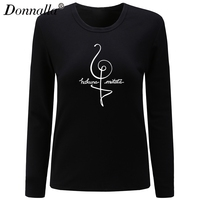 Donnalla Women T Shirt O Neck Long Sleeve New Cotton Shirt Hakuna Matata Letter Printed Woman
