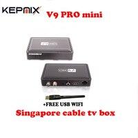 Singapur sta ** hub kablo tv kutusu V9 PRO mini blackbox yerleşik WIFI İzle futbol kanallar, daha yeni v7 kablo, v8 golde + ÜCRETSIZ WIFI