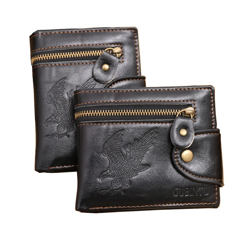 New Quality Hasp Zipper Black Color Men Wallets Eagle Prints Cross Vertical PU Leather Coin Pocket Bit Credit Card Holder Wallet стоимость