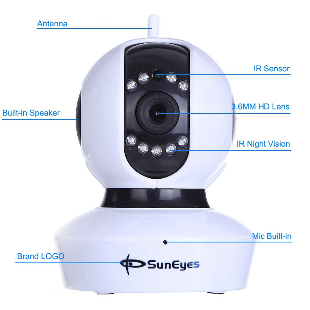 SunEyes SP-TM07WP 720P HD P2P  IP Camera Wireless Pan/Tilt with ONVIF  Two Way Audio Support  Micro SD IR CUT Built-in wireless network ip security camera 720p hd ip camera p2p ir cut night vision pan tilt two way audio support 64gb micro sd