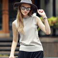 2016 Fashion Slim Women Sleeveless Sweater Causal Solid O-Neck Pullover Women's Basic Sweaters and Pullovers Spring Summer E030