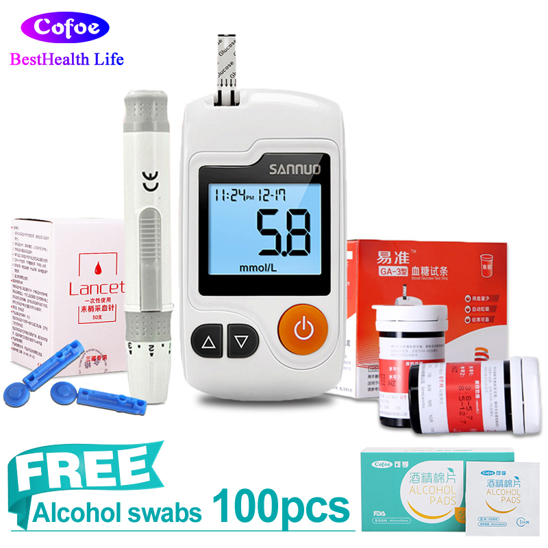 Sannuo Yizhun GA-3 Glucose Meter Diabetic Monitor Glucometer with 100 Glucose Test Strips+Lancets Needles for Blood Sugar Test