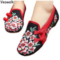 Veowalk Chinese Style Shoes Woman,Ladies Old Peking Casual Flats,Peach Blossom Embroidered Cloth Canvas Shoes zapatos mujer