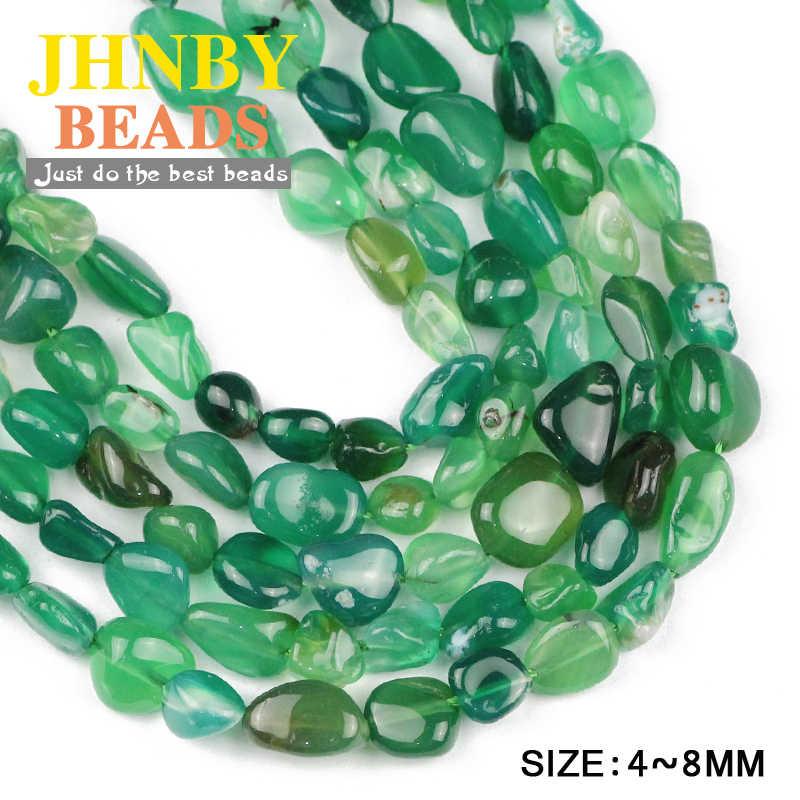 JHNBY ירוק קרנליאן חצץ סדיר שבבי Loose חרוזים טבעי אבן נשים תכשיטי צמיד ביצוע DIY אבזרים סיטונאי