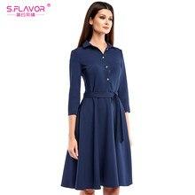 45f4ad7c6a S. smak kobiety koszula styl krótka sukienka najnowszy jednolity kolor  skręcić w dół kołnierz wiosna jesień vestidos kobiety cas.