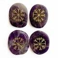 Натуральный Аметист  кварцевый кристалл  пальмовые камни  набор  Северный камень  амулеты  руны викингов  Vegvisir  компас  символы