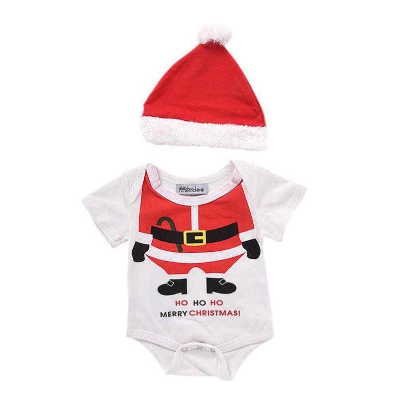 Christmas Style Newborn Infant Baby Boys Girls Clothing Set 2 PCS Shorts Sleeve Bodysuit One-piece Tops Jumpsuit + Christmas Hat