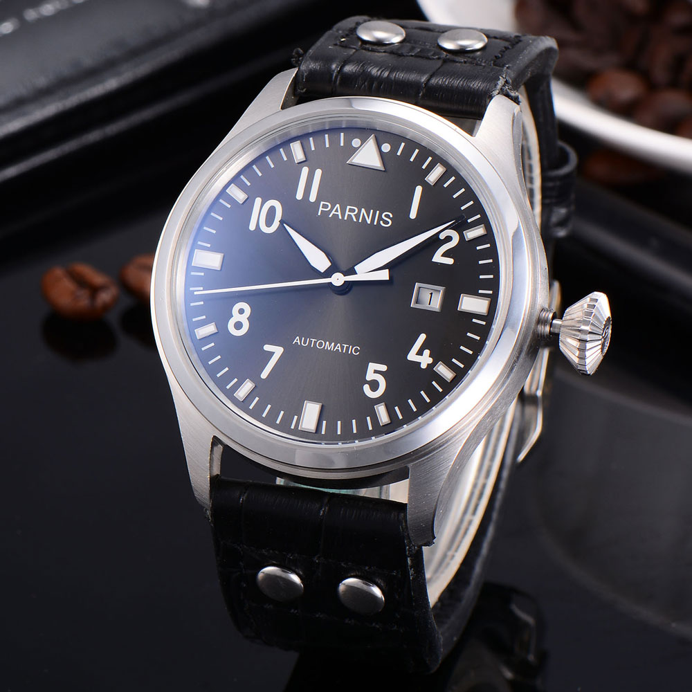 parnis 47mm watch SS case gray dial Automatic mechanical men watch Seagull movement luxurious 47mm parnis coffee dial date seagull automatic movement mens watch page 6