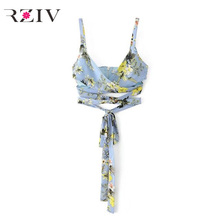 RZIV 2017 summer casual women tape clothing decorative flower print camisole straps
