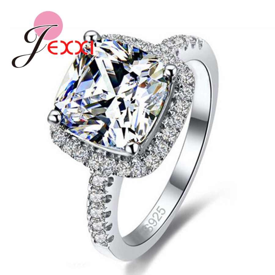 Luxury Geniune 925 Sterling Silver Wedding Engagement Rings Shiny Stone Cubic Zirconia Jewelry For Bridal Big Promotion