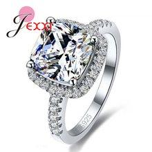 00a060dcea10 ¡JEXXI de lujo genuino Plata de Ley 925 DE BODA Anillos de Compromiso de  piedra brillante joyería de Zirconia cúbica para novia .
