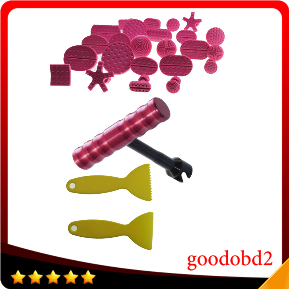 Car PDR dent TOOL 24pcs red Pulling Tabs + 1pc T-Bar Dent Lifter Car Paintless Dent Repair Tools Set Dent Remover Tools PDR