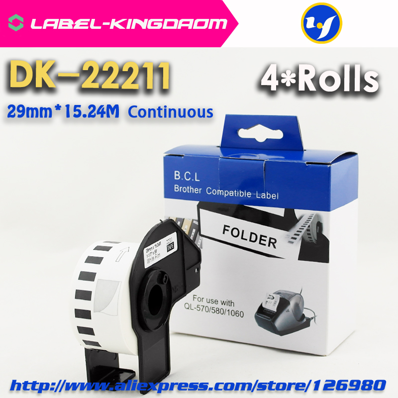 6 Rolls Generic DK 22211 Label 29mm 15 24M Continuous Compatible for Brother Printer QL 570