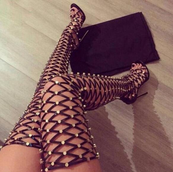 2017 Summer Hot Metal Stud Cover Women Thigh Gladiator Boots Peep Toe Ladies Cut Outs Fashion Long Boots Sexy High Heel Boots summer cut outs gladiator sandals boots women sexy peep toe over knee boots high heels thigh high sandal boots