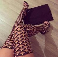 2017 Summer Hot Metal Stud Cover Women Thigh Gladiator Boots Peep Toe Ladies Cut Outs Fashion
