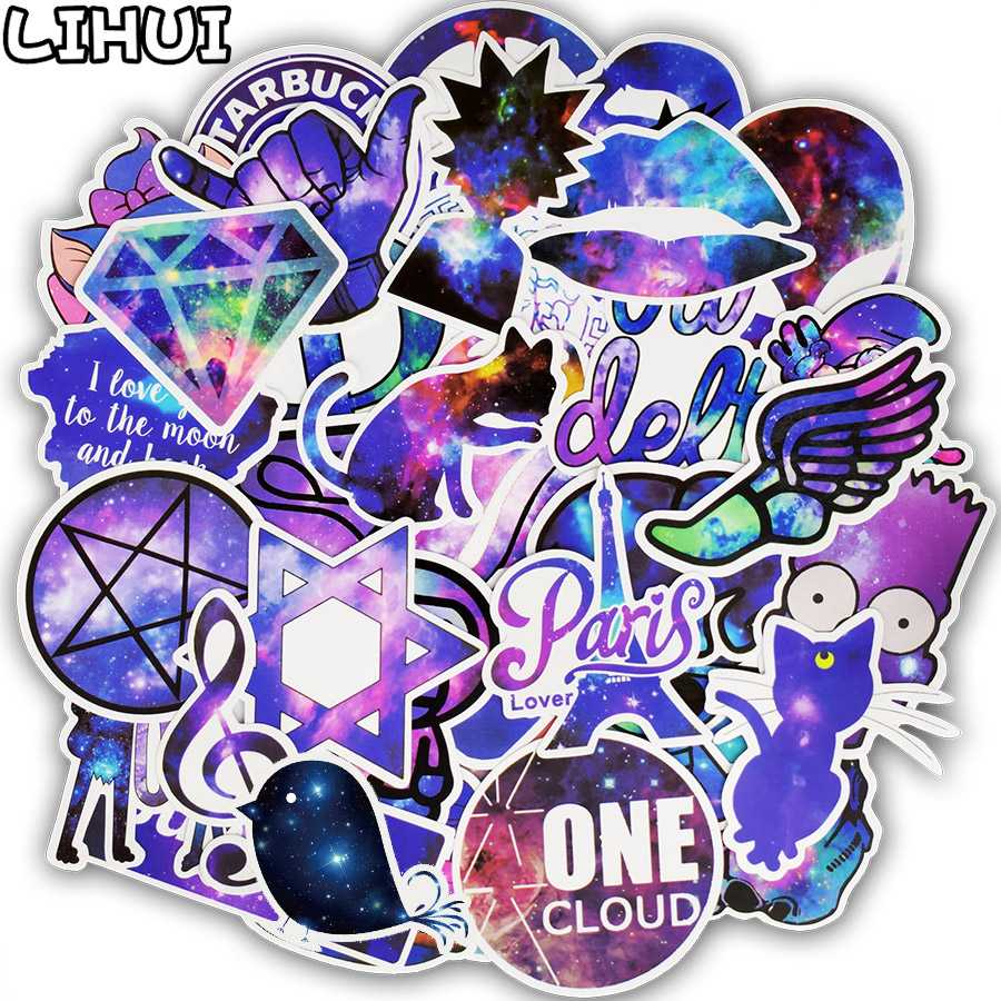 50pcs Mixed Galaxy Sticker Stars Dream Anime Cartoon Stickers for DIY Luggage Laptop Skateboard Car Motorcycle Bicycle Stickers ...