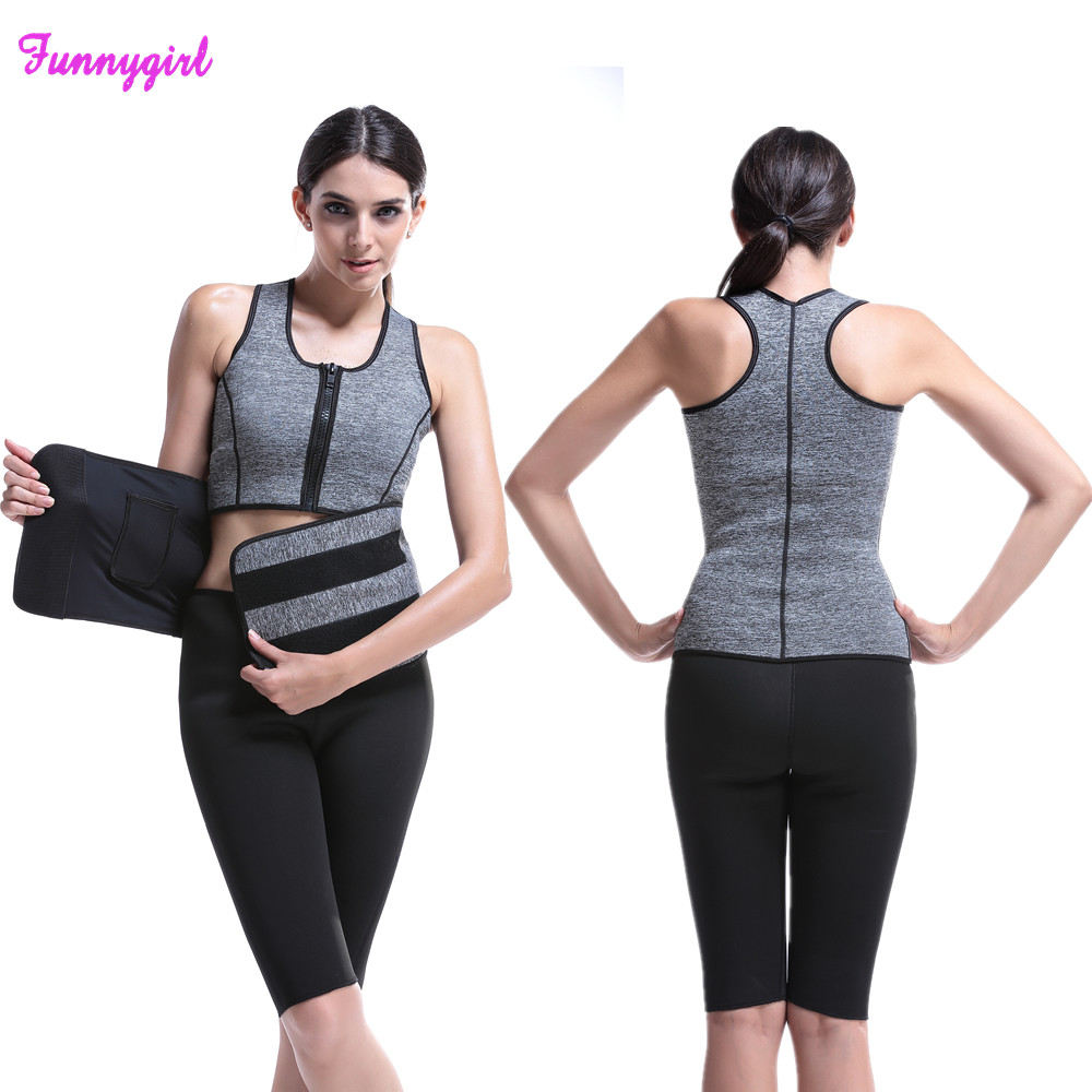 74a5db88ffe Workout Neoprene Waist Trainer Corsets Sauna Top Vest Zipper Sweat Hot Body  Shaper Hot Adjustable Slimming Blet Waist Cincher