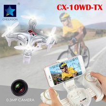 2016 New RC Toy Mini Drone Cheerson CX-10WD-TX 4CH 6-Axis Gyro WiFi FPV Quadcopter with 0.3MP Camera 3D Flips