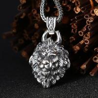 925 sterling silver jewelry fashion lion head pendant (FGL)