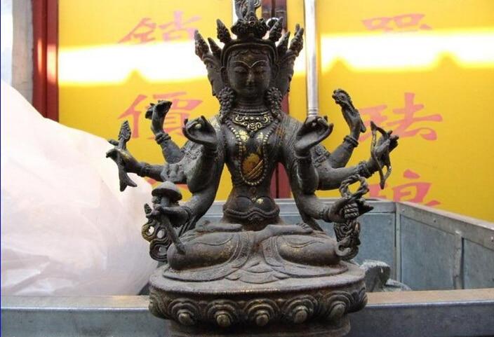 Collectible bronze S2370 Tibet Buddhism Folk classic Bronze Copper gild Usnisa sitatapatra Buddha Statue (B0328)|statues buddha|statue bronze|statue tibet - title=