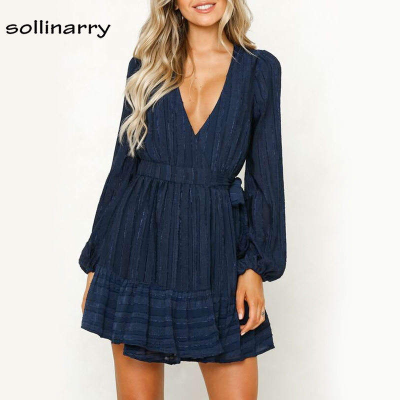 Sollinarry Long Sleeve Vintage Party Dress Women Short Winter Casual Dresses Red Bow Sexy Wrap Dress Elegant Vestidos