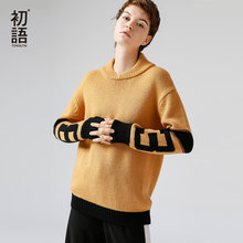 Toyouth Women High Neck Color Block Knitted Sweater Pullover Troict Long Sleeve Casual Wear Autumn Winter Warm Jumper Knitwear(China)