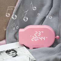 Multifunction Cartoon Pig Alarm Clock Temperature Lamp Function USB Charge Clock for Bedroom Dropshipping