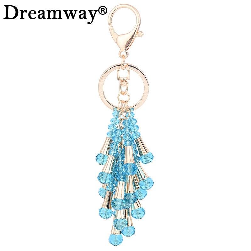 Korean crystal beads tassel car key chain creative female bags beautiful ornaments fashion gift pendants wholesale drop shipping