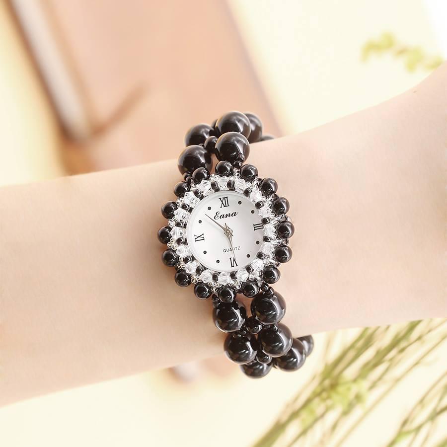 Prezent urodzinowy Lady piękny czarny bransoletka z agatem zegarek wodoodporny kobiet Quarz mody zegarek w Zegarki damskie od Zegarki na title=