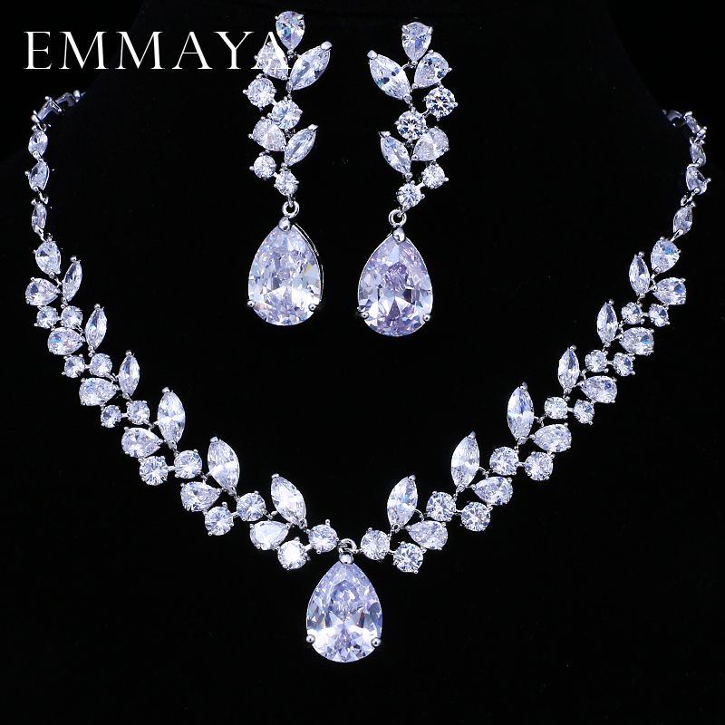 EMMAYA Brand Flower Design AAA+ CZ Wedding Jewelry Sets For Women Silver Color Necklaces Pendant Stud Earrings Gift все цены