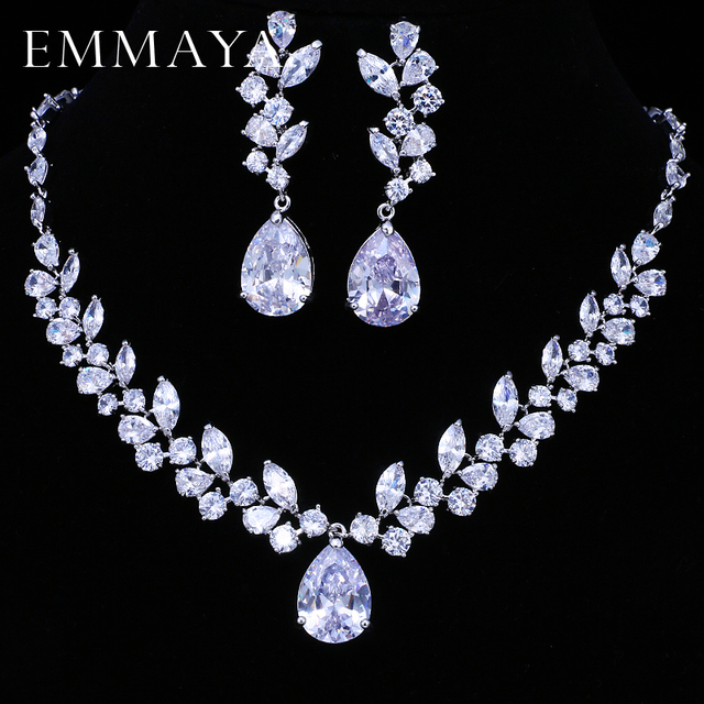Cz Wedding Sets.Us 21 45 20 Off Emmaya Brand Flower Design Aaa Cz Wedding Jewelry Sets For Women Silver Color Necklaces Pendant Stud Earrings Gift In Jewelry Sets