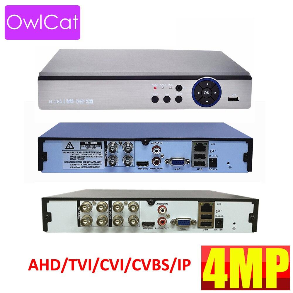 OwlCat 4CH 8CH H.264+ XMEYE Cloud P2P Digital Video Recorder AHD TVI CVI IP HD 1080p 4MP DVR Registrar Surveillance RecorderOwlCat 4CH 8CH H.264+ XMEYE Cloud P2P Digital Video Recorder AHD TVI CVI IP HD 1080p 4MP DVR Registrar Surveillance Recorder