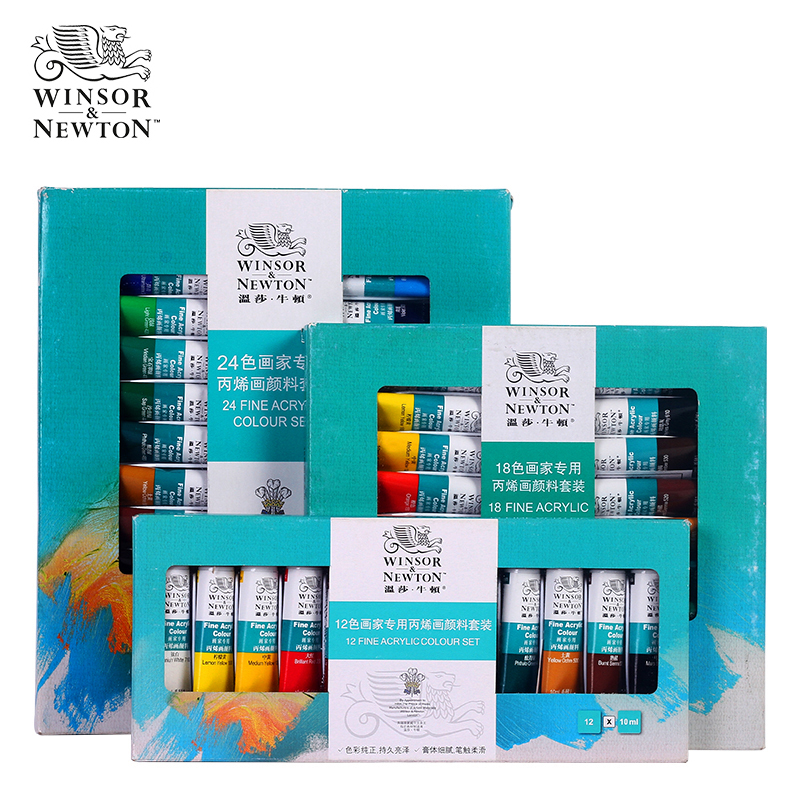 цена на Acrylic Paint Set Professional Paints for Painting Canvas Wood Clay Fabric Nail Art 10ml Tube 12/18/24 Color Set