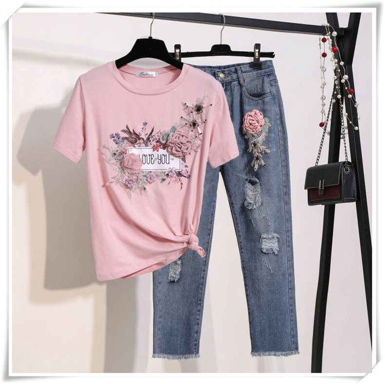 2019 Summer Women New Fashion Embroidery Flower Short Sleeve T-shirt + Flower Hole Jeans Two Pieces Sets Female Suits A996