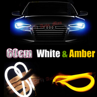 2x 60cm White Yellow Switchback DRL With Turn Signal Tube Style Flexible LED Strips Car Motorcycle