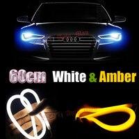 2x60 cm Trắng Vàng Switchback DRL với Tín Hiệu Lần Lượt Ống Phong Cách Linh Hoạt LED Strips Ôtô Xe Máy Đèn Pha Trang Bị Thêm ph