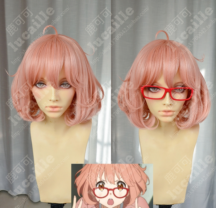 Kyoukai No Kanata Mirai Kuriyama Short Orange Pink Heat Resistant Hair Cosplay Costume Wig + Red Glasses Optional