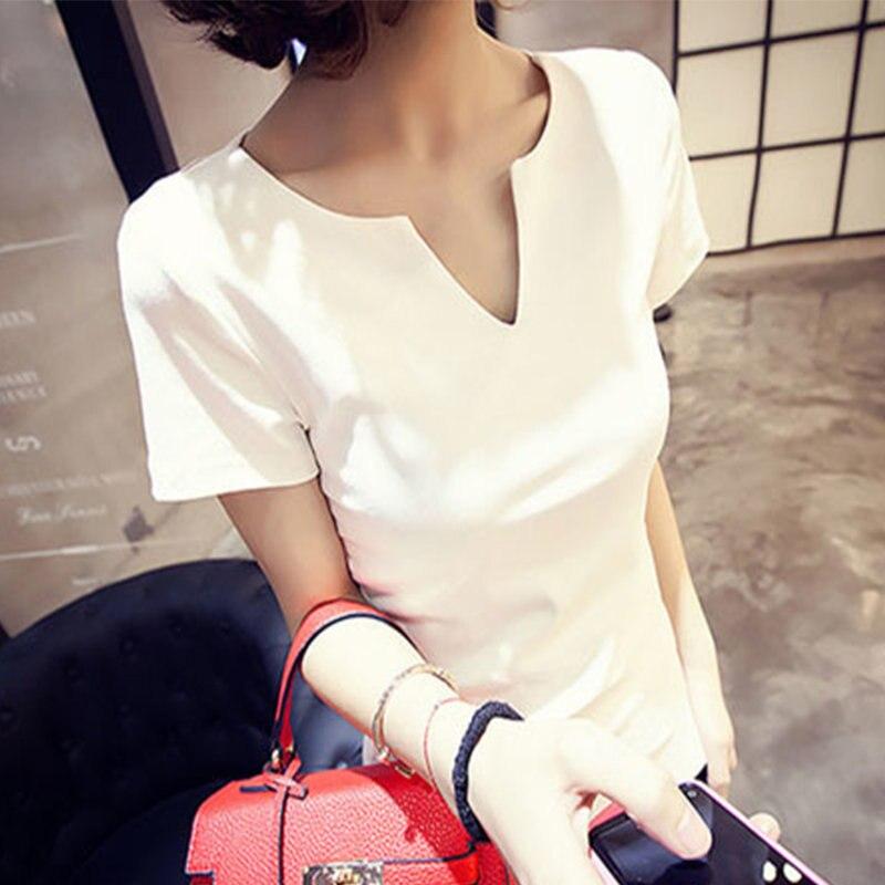 HTB1cYZ8lFooBKNjSZFPq6xa2XXaP - T-shirt Women Autumn Cotton Female T Shirts V-Neck Solid Tops Casual