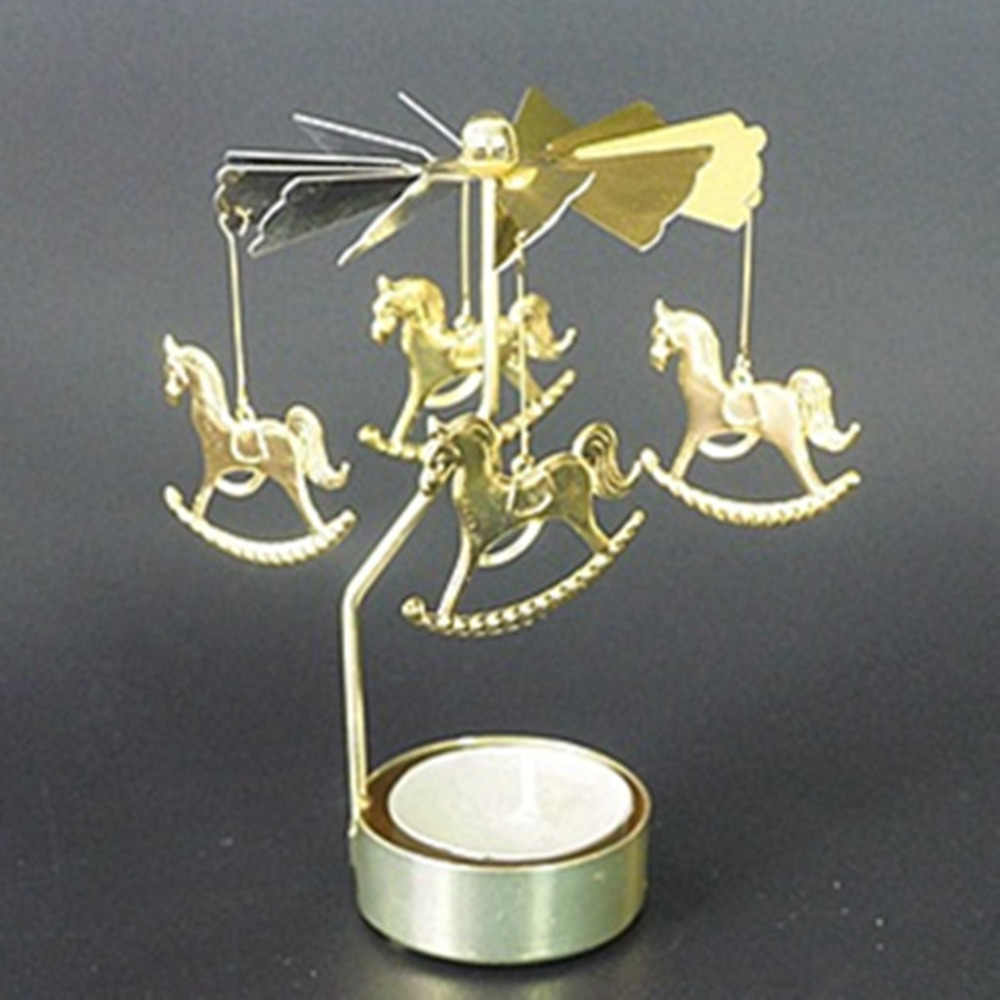 Christmas Decorations For Home Hot Spinning Rotary Metal Carousel Tea Light Candle Holder Stand Xmas Valentine's Day Gifts LL