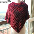 2016 Hot Sale Winter Women's Knitted Rabbit Fur Poncho Fur Pullover Triangle Fur Shawl  Fur Vest New Colorful Fur Gilets