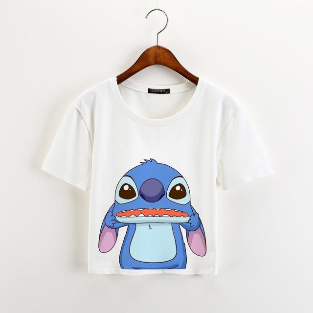 Stitch Print T-shirt Crop Tops