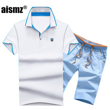 Aismz Sportmode Set Mannen Merk Polo Suits Zomer 2 st Top Korte Set heren 2 stuks T-shirt Shorts Trainingspak mannen Moletom Masculino(China)