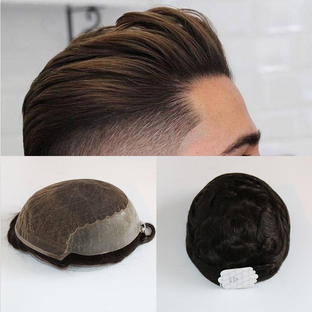 Eversilky Apliques de Renda Fina PU peruca Sistema de Substituição de Cabelo Humano Durável Para Homens Perucas de Cabelo Humano Postiços Durável Lace & PU