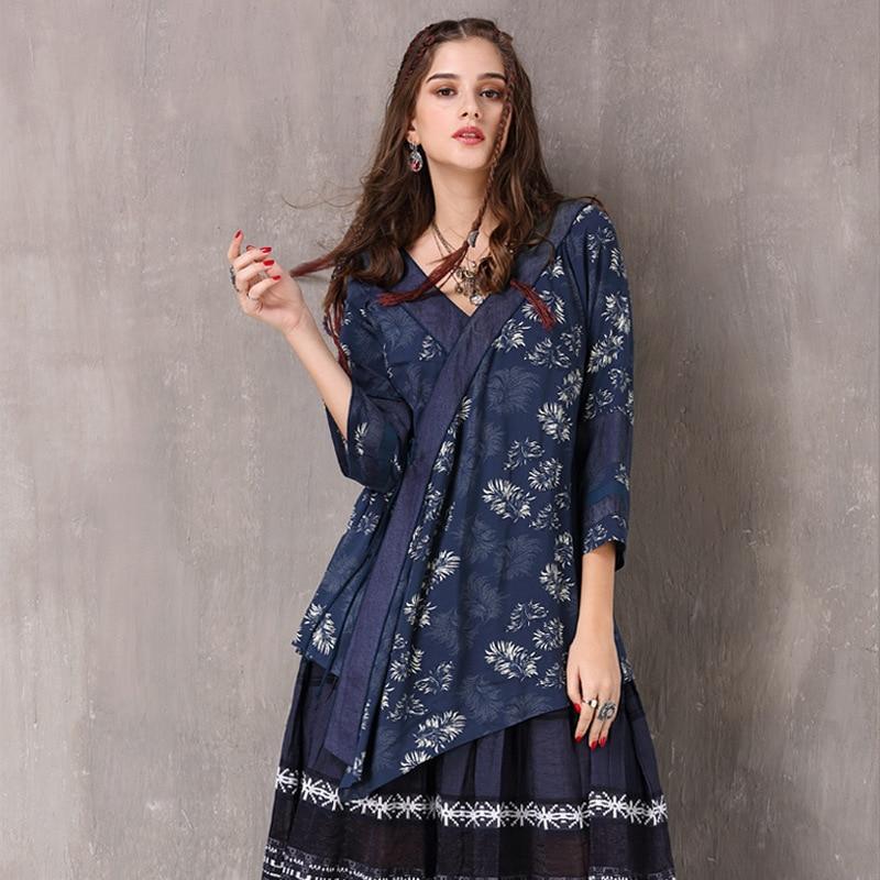 Chemisier pour femme 2018 Boho nouveau coton Polyester Blusas col en v imprimé Floral cordon asymétrique chemise pour femme B9236