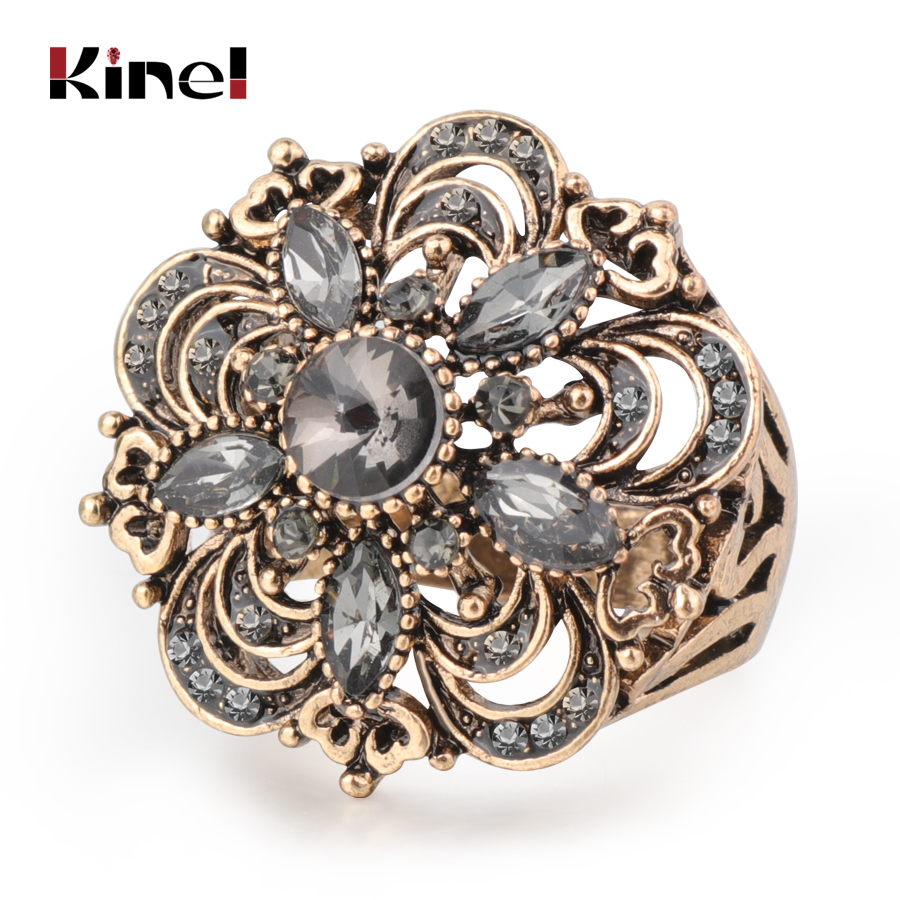 Kinel luxe gris cristal fleur Vintage bagues de mariage pour femmes Boho Punk turc bijoux Bague Femme 2019 nouveau
