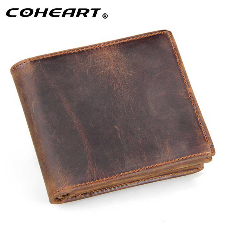 100% genuine leather wallet men purses crazy horse wallets vintage top quality leather wallet carteira masculina  cardholders