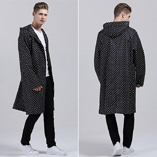 Very XL Raincoat Men thin Poncho Black With Dot Waterproof long fishing  IJ47