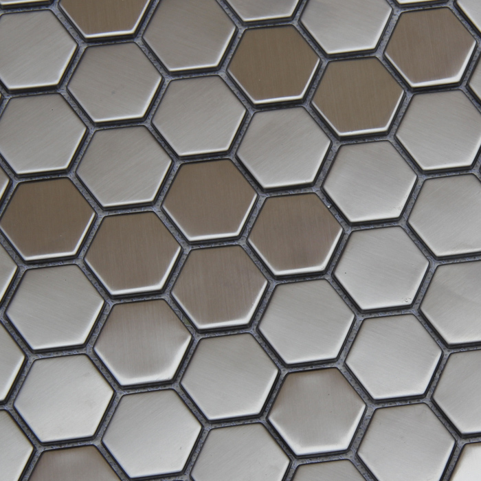 hexagon silver color stainless steel metal tiles for kitchen backsplash wall mosaic tiles hme8108