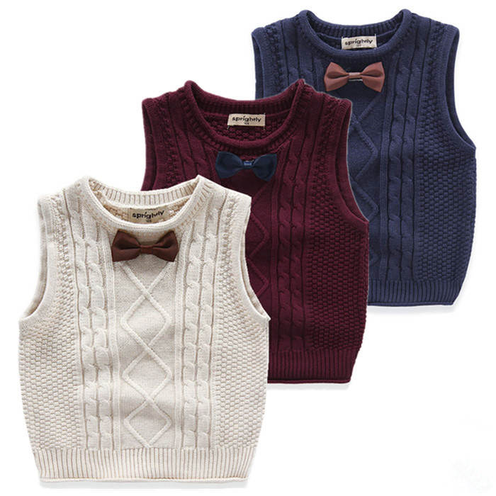 2016 The Spring and Autumn The Baby Boy s Clothing Waistcoat Sweater Vest Cotton Knitted Tie